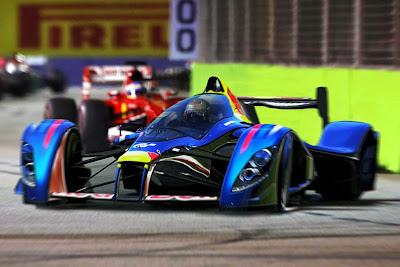 Себастьян Феттель на супер-болиде Red Bull - фотошоп по Гран-при Сингапура 2013