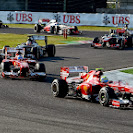 After the first lap the F1 cars are still close