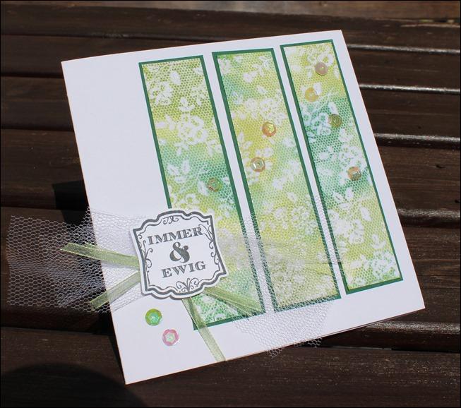Hochzeitskarte hellgrün Spitze Tüll 00