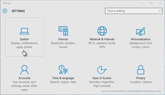 Windows 10 Settings Page (www.kunal-chowdhury.com)