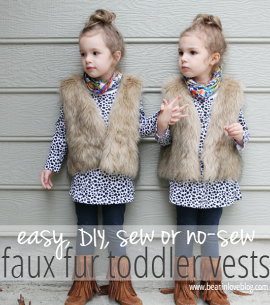 diy faux fur toddler vests