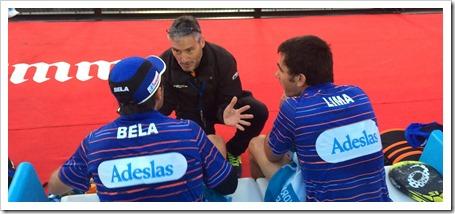 Miguel Sciorilli junto a Fernando Belasteguín y a Pablo Lima en una competición WPT