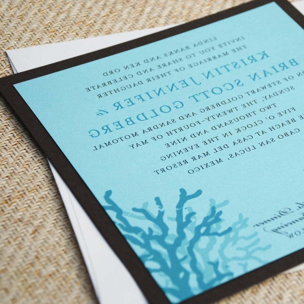 Coral Beach Wedding Invitation