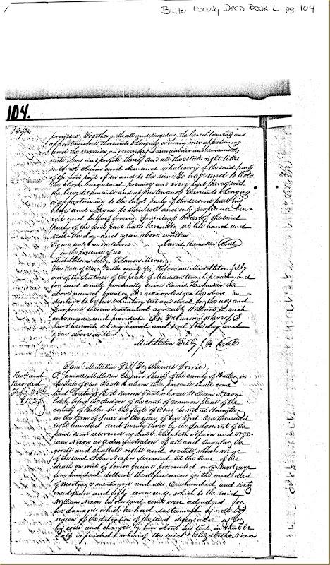 William Nixon,Elizabeth Nixon,Butler Co, OH convey James Irwin 1824 1