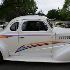 white beauty  by Debbie Theobald - Transportation Automobiles ( car, classic cars, automobile, arizona, unedited, car show )