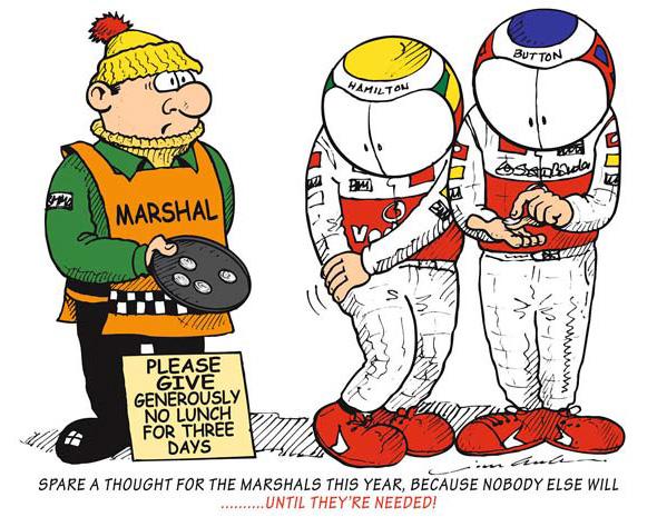Льюис Хэмилтон и Дженсон Баттон ищут мелочь для маршала - комикс Jim Bamber