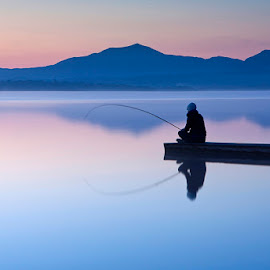 Fishing at Sunrise by Terry MacSweeney - Landscapes Mountains & Hills