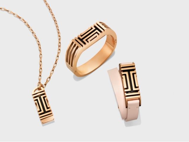 Tory Burch for Fitbit Fret Double-Wrap Bracelet in light oak/rose gold, Metal Hinged Bracelet in rose gold and Metal Fret Pendant in gold | Source: toryburch.co.uk