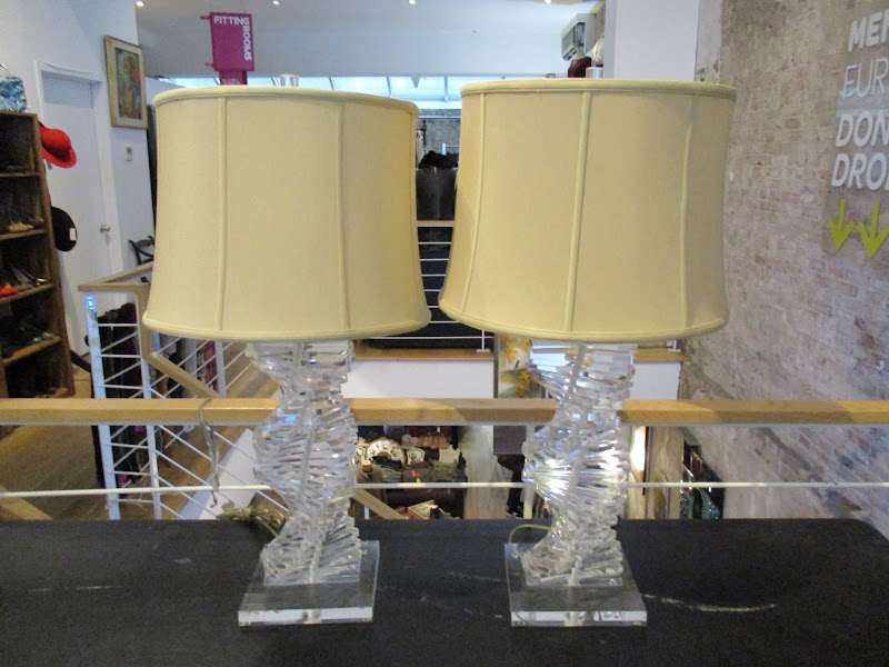 Contemporary Lucite Table Lamp Pair