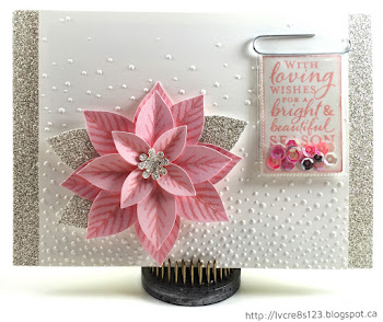 Linda Vich Creates: Pretty In Pink Poinsettia. A pretty pink poinsettia adorns this Softly Falling embossed card. Silver Glimmer paper strips and a sequin-filled sentiment pocket complete this stunning Christmas card.