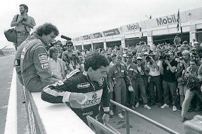 Алан Прост Айртон Сенна черно-белое фото Эшторил Гран-при Португалии 1986
