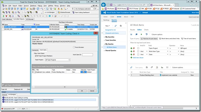 5 - Associating Work Items with Changesets from Toad For Oracle 12.6 - CheckIn Dialog With Work Items