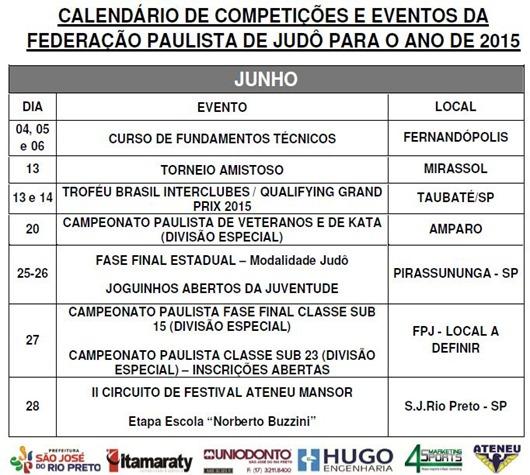 Ano 2015.06 - Calendario Evento de Judo - Junho
