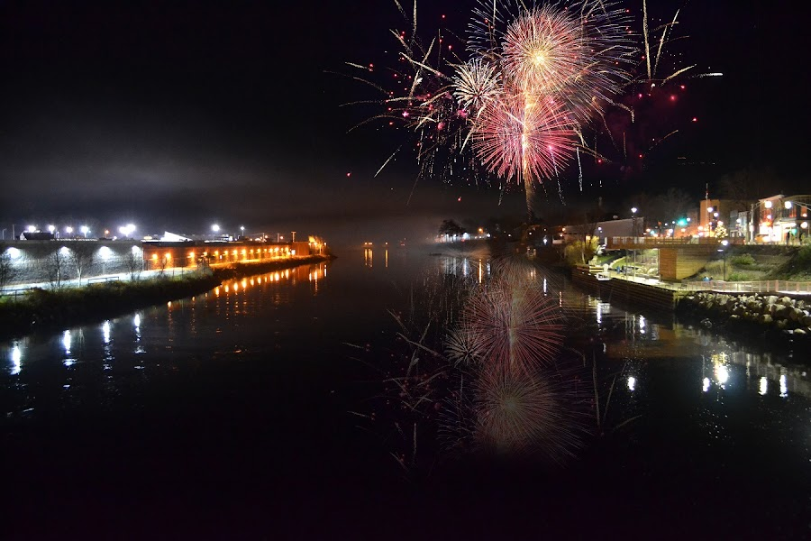 Christmas Fireworks in Nova Scotia, Canada by Lena Arkell - Public Holidays Christmas ( reflection, canada, nova scotia, night lights, night scene, christmas, nightscape, night photography, fireworks, night, new years eve, night shot, new years, river )