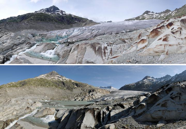 The Rhone Glacier in June 2007 (top) and in June 2014 (bottom). Photo: Simon Oberli
