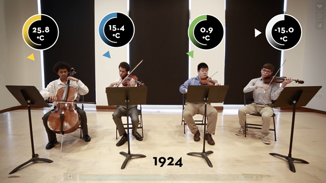 The quartet, 'Planetary Bands, Warming World', by University of Minnesota undergraduate Daniel Crawford and geography professor Scott St. George, transcribes the sound of climate change from the Amazon to the Arctic, using music to highlight the places where climate is changing most rapidly. Photo: Ensia / University of Minnesota