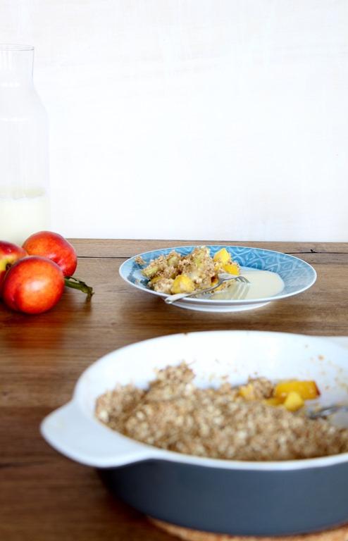 Pfirsichauflauf, vegan, Peach Crisp