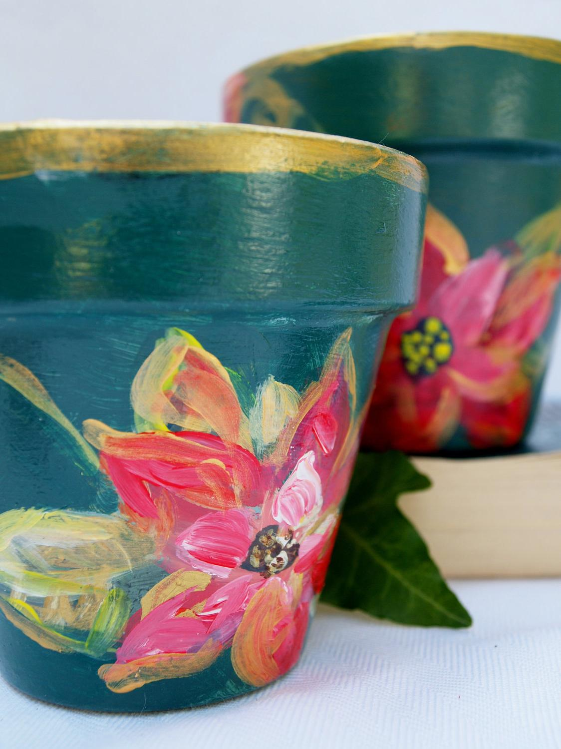 hand-painted pots are