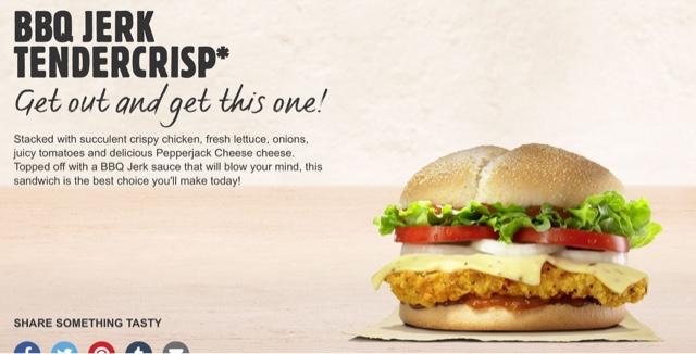 Burger King BBQ Jerk Tendercrisp