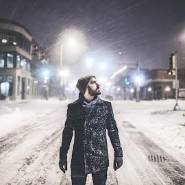 Surviving the Storm by Corey Gross - People Portraits of Men ( epic, snow, south dakota, blizzard, downtown )