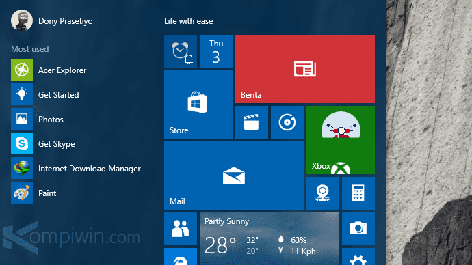 cara mengubah tampilan start menu windows 10