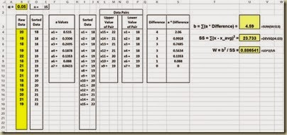 Shapiro-Wilk Normality Test in Excel - b, SS, Test Statistic W