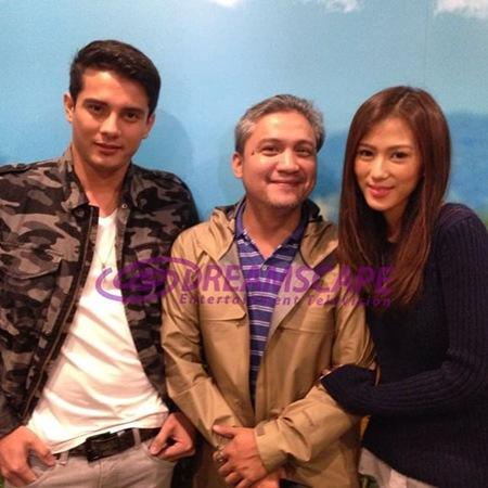 Ejay Falcon and Alex Gonzaga with director Andoy Ranay