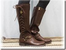 Brown leather look side lace up boot