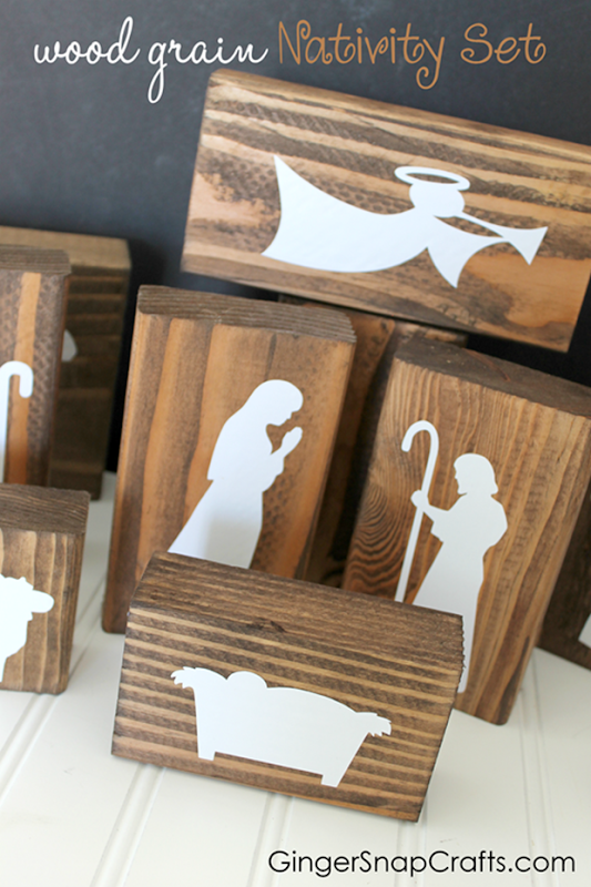 Wood Grain Nativity Set at GingerSnapCrafts.com_thumb