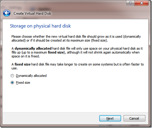 Create VM Create New Disk Storage Allocation Type