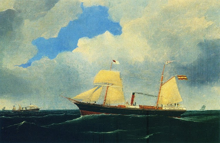 Vapor AVISO. Oleo de Samuel H. Fyre, pintor de Glasgow. Nº de inventario 608.Untzi Museoa. Revista ITSAS MEMORIA. NUM 3.jpg