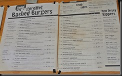 The Menu of the Zombie Burger..