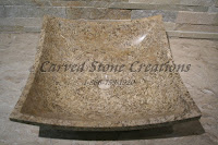 16x16xH6 Fossil Stone Cozumel Square Sink