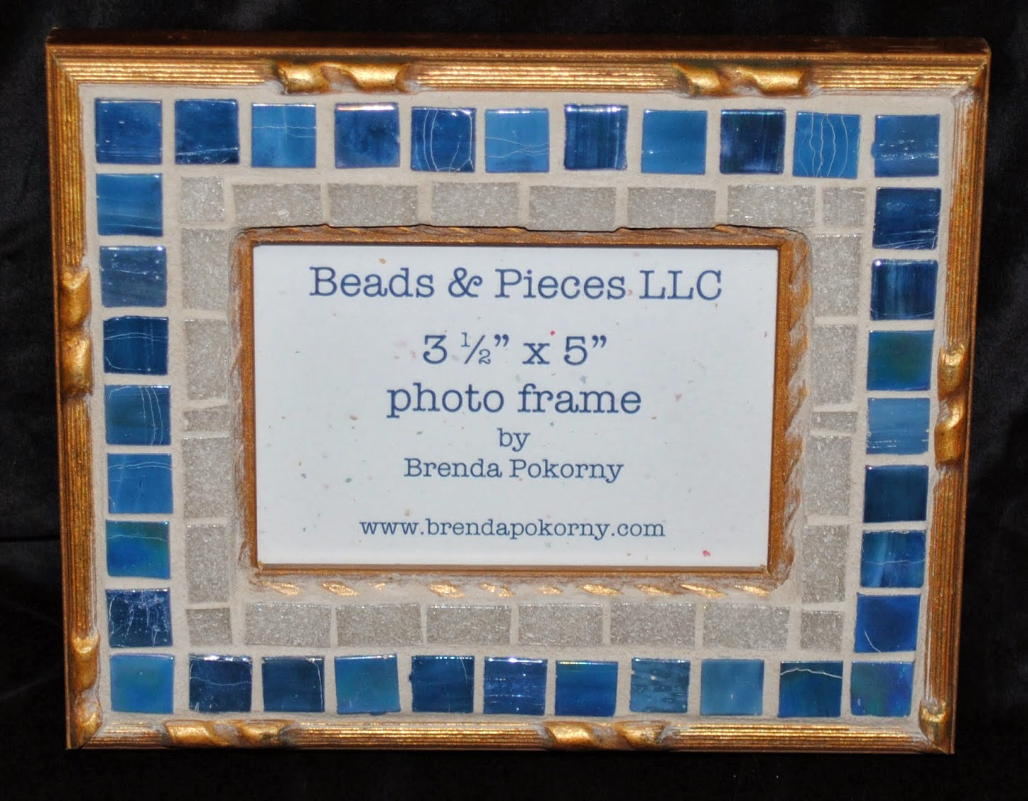 "Gold & Chambray 3.5"" x 5"" Mosaic Photo Frame MOF1382"