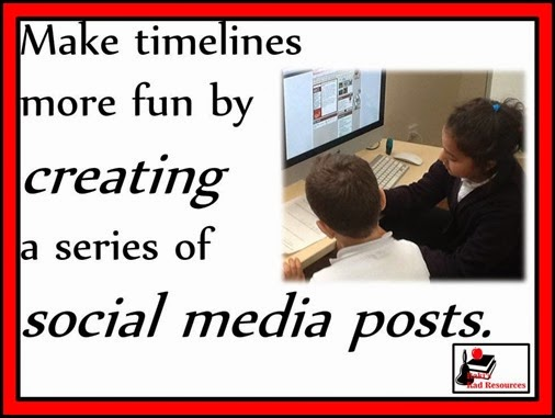 make timelines more fun by allowing students to create a series of social media posts. Ideas and resources from Raki's Rad Resources.