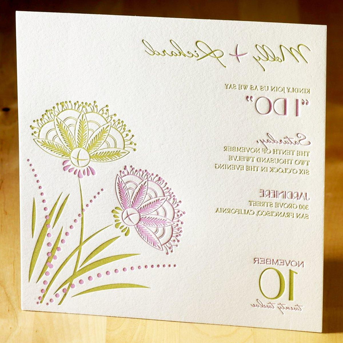 This beautiful letterpress wedding invitation features two breathtakingly