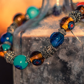 Beads at Sunset by Becky Kempf - Artistic Objects Jewelry ( sunset, jewelry, beads, bottle )