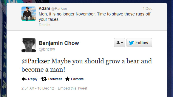 @Parkzer Maybe you should grow a bear and become a man!