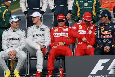 Нико Росберг Михаэль Шумахер Фелипе Масса Фернандо Алонсо Марк Уэббер на фотоссессии Гран-при Австралии 2012