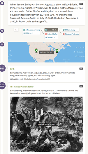 The New Ancestry LifeStory view