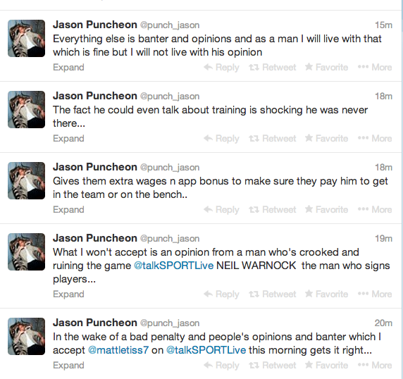 Screen+Shot+2014 01 13+at+11.49.06 Jason Puncheon takes to Twitter to accuse Neil Warnock of being crooked