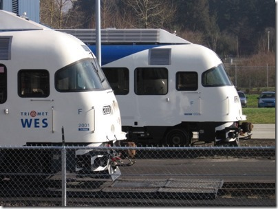 IMG_5048 TriMet Westside Express ServiceTrailer #2001 & DMU #1002 in Wilsonville, Oregon on January 15, 2009