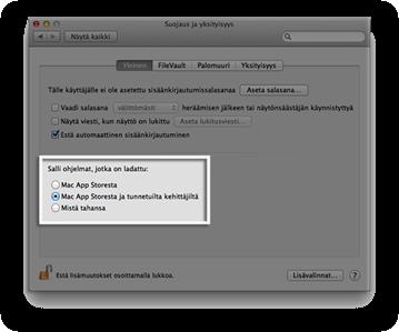 Gatekeeperin asetukset OS X:n suojaus ja yksityisyys asetuksissa