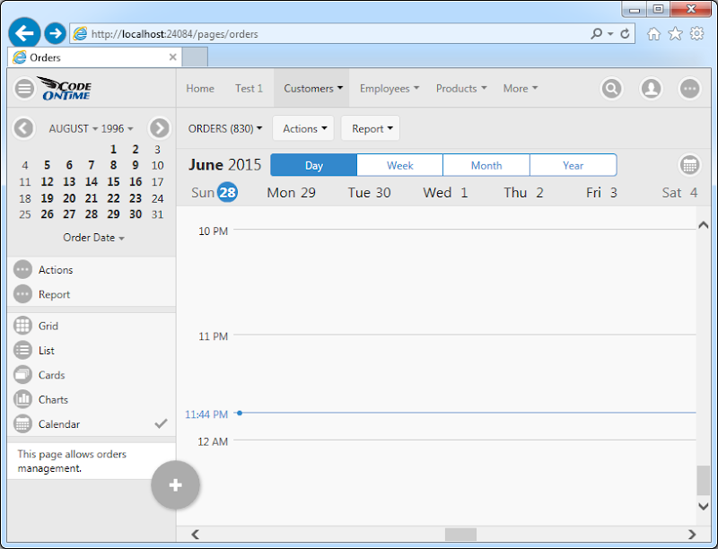 Day mode of Calendar view style in Touch UI