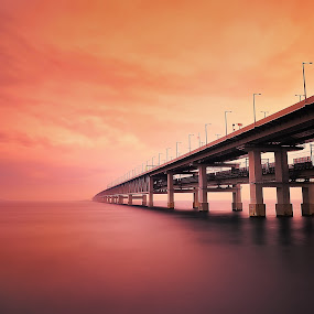 Red world  by Hiro Ytwo - Buildings & Architecture Bridges & Suspended Structures ( reflection, sky, red, sea, bridge )
