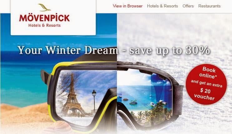 Moevenpick 12月至明年3月訂歐洲、中東和亞洲酒店優惠,低至7折,仲送餐飲劵。