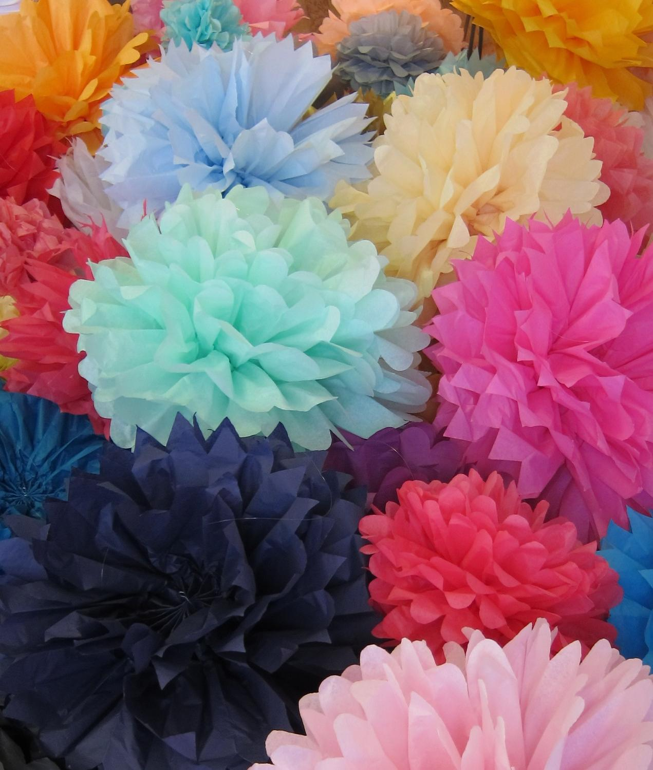 15 Pom Poms- Pick Your Colors- wedding decorations  photography prop