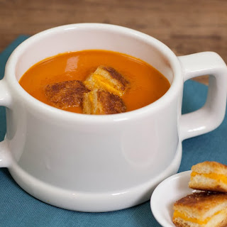 Grilled Cheese Croutons with Tomato Soup
