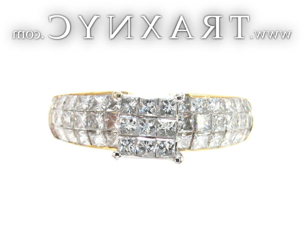 Full Size Picture for Yellow Gold Princess Cut Invisible Cut Diamond Ring