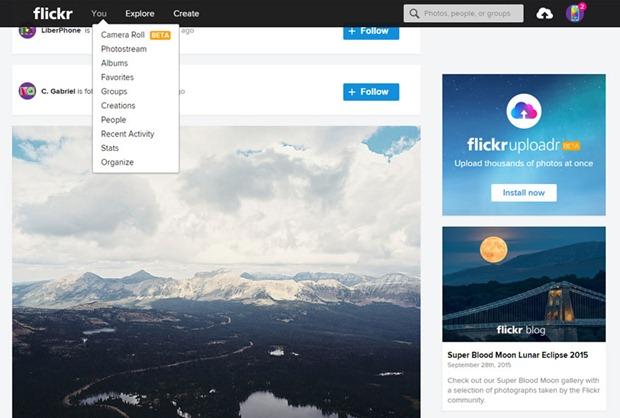 Página de inicio de Flickr